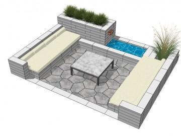 Meble ogrodowe z betonowych prefabrykatów