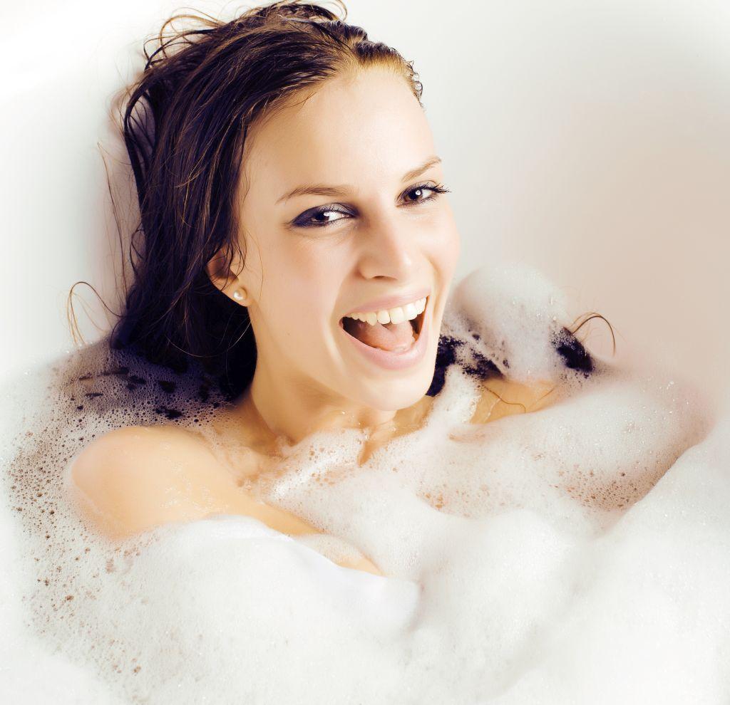 Ciepła kąpiel w środku zimy