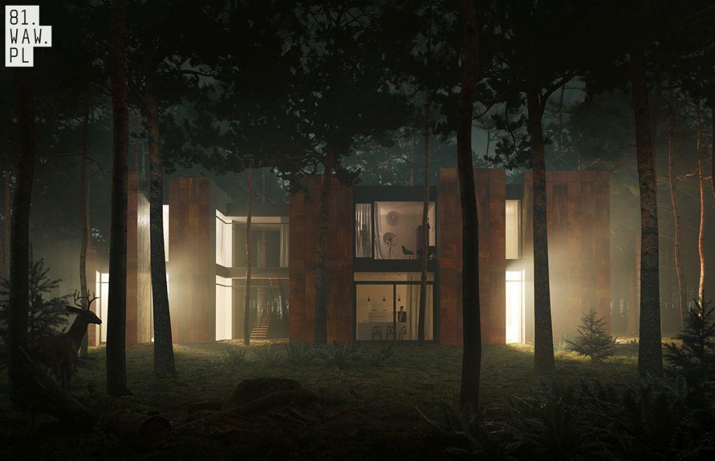Dom jak las otoczony sosnami